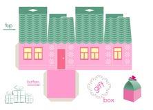桃红色议院礼物盒的模板 免版税库存图片
