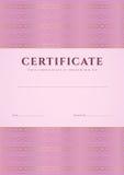 桃红色证明,文凭模板。样式 免版税库存照片