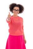 桃红色赞许的愉快的非裔美国人的十几岁的女孩 库存照片