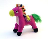 桃红色软的玩具马 库存照片