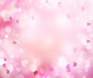 桃红色迷离心脏华伦泰浪漫假日背景 皇族释放例证