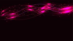 桃红色透明抽象发光的不可思议的宇宙不可思议的能量标示,发出光线用聚焦,并且小点和光由波浪发光在a 皇族释放例证