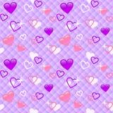 桃红色逗人喜爱的无缝的样式的心脏紫色和 库存图片