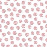 桃红色逗人喜爱的风格化玫瑰无缝的样式 库存图片