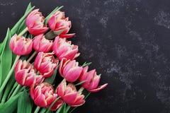 桃红色郁金香在黑在舱内甲板位置样式的背景顶视图开花 问候为妇女或母亲节 库存图片