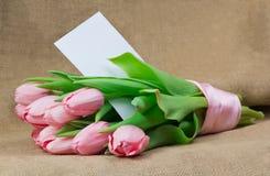 桃红色郁金香花束与桃红色缎丝带和信封的 库存图片