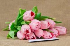 桃红色郁金香花束与说谎在信封的缎丝带的 免版税库存照片
