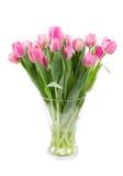 桃红色郁金香花束在一个清楚的花瓶的 图库摄影