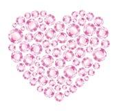 桃红色金刚石的心脏 库存图片