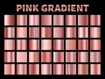 桃红色金属梯度 金黄玫瑰色梯度箔,发光的玫瑰金属板材边界框架丝带盖子标签 ?? 向量例证