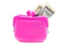 桃红色钱包 库存图片