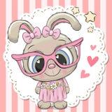 桃红色镜片的逗人喜爱的兔子女孩 向量例证