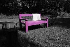 桃红色长木凳 免版税库存照片