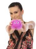 桃红色陈列软的玩具妇女 免版税库存图片