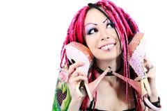 桃红色鞋子 免版税图库摄影