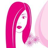桃红色颜色的俏丽的女孩 免版税库存图片
