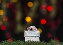 桃红色颜色礼物与一把弓的在冷杉分支反对黄色和红色bokeh光背景在黑背景的 库存照片