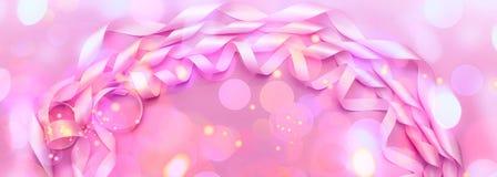 桃红色颜色装饰缎丝带横幅A卷  免版税库存照片