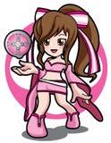 桃红色魔术比赛女孩 库存照片