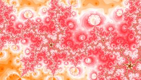 桃红色黄色白色螺旋波浪分数维漩涡 免版税库存图片