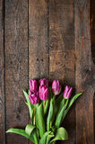 桃红色,在黑暗的谷仓木板条背景的郁金香束 图库摄影