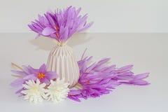 桃红色,紫色花,在花瓶的新鲜,自然番红花花束 免版税库存照片