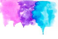 桃红色,蓝色,紫色五颜六色的水彩纹理背景下落  免版税库存图片