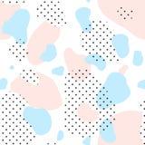 桃红色,被加点的和蓝色斑点的无缝的样式 免版税库存图片