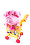 桃红色织品猪在购物车 免版税库存图片