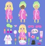 桃红色浴巾的女孩采取温泉治疗 免版税库存照片