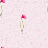 桃红色水彩开花无缝的样式 免版税库存照片