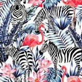 桃红色水彩火鸟、斑马和蓝色棕榈叶热带se 库存照片