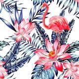 桃红色水彩火鸟和蓝色棕榈叶热带无缝 库存照片