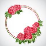 桃红色水彩玫瑰花卉框架  向量例证