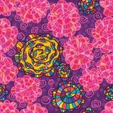 桃红色水彩花漩涡五颜六色的无缝的样式 库存图片