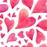 桃红色水彩被绘的心脏无缝的样式 库存照片