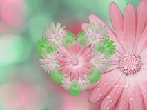 桃红色绿的花,在桃红色绿松石被弄脏的背景 库存照片