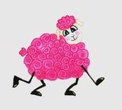 桃红色滑稽的绵羊 库存照片