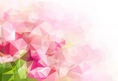 桃红色绿色几何抽象五颜六色的低多背景 库存图片