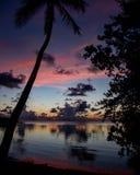桃红色黄色和橙色日落佛罗里达钥匙 免版税库存图片