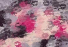 桃红色紫色和黑亲吻 向量例证