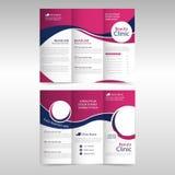 桃红色紫色圈子企业三部合成的传单小册子飞行物报告模板传染媒介最小的平的设计集合,摘要三折叠 向量例证