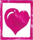 桃红色紫色心脏- Linocut印刷品 免版税库存图片