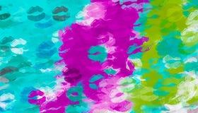 桃红色紫色蓝色和绿色亲吻 库存例证