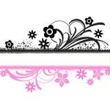 桃红色黑花卉横幅 库存图片