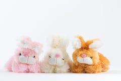 桃红色黄褐色兔宝宝白色背景 免版税库存照片