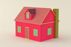 桃红色3d房子 库存图片