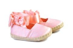 桃红色balerina鞋子 图库摄影