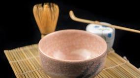 桃红色chawan和工具 库存照片