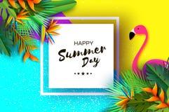 桃红色Flaingo 花鹤望兰 天堂鸟-异乎寻常的热带植物 棕榈 在纸裁减样式的夏天 文本 库存图片